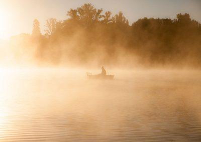 Mist op de rivier de Lot